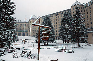 Lake Louise Hotel In Snow