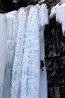 Ice Climbing the Side of Upper Johnson Falls
