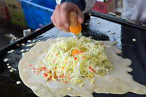 Cracking Eggs Into Okonomiyaki