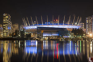 BC Place With Lights On The Water