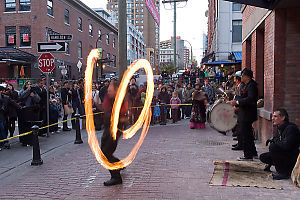 Fire Spinning Durring The Day