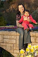 Nara And Helen         Sitting On Bridge