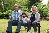 Nara And Great Grandparents On Bench