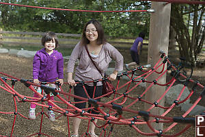 Mom And Claira Climbing Net