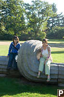 Mom And Helen On Sculpture