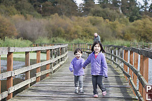Nara And Claira On The Bridge