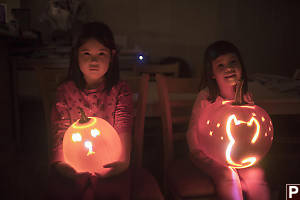 Carved Lit Pumpkins