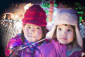 Nara And Claira With Lights