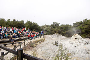 Stands Overlooking The Geyser