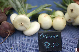 Onions Written With Chalk