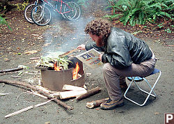 Mike Tending Fire