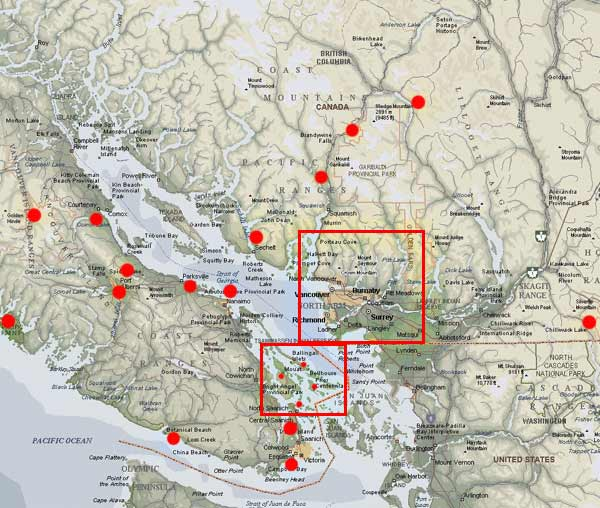 photo map of south west british columbia