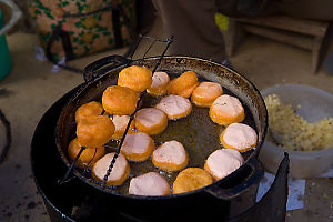 Frying Rice Donuts