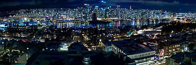 Vancouver View With Christmas Lights